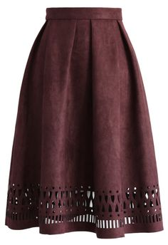 Geo Cutout Suede Pleated Midi Skirt in Plum - Skirt - Bottoms - Retro, Indie and Unique Fashion Modest Fashion, Unique Fashion, Skirt Fashion, Womens Fashion, Fashion Fashion, Pleated Midi Skirt, Dress Skirt, Dress Me Up, Autumn Winter Fashion