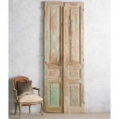 Pretty Pair of Vintage Doors in Distressed Layers of Sea Green and Milk Chocolate Paint