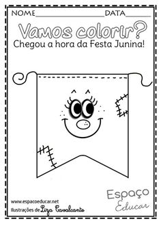Bandeirinhas para festa junina: Modelos criativos e fáceis de fazer Coloring Pages, Clip Art, School, Funny, Fictional Characters, Art Classroom, Free Coloring Pages, School Supplies, Index Cards