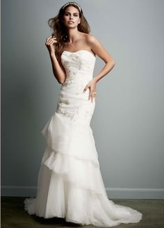 KP3622 organza trumpet gown with floral detail $299 at David's bridal