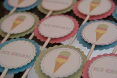 Ice Cream Birthday Cupcake Toppers Summer Party I Scream for Ice Cream Set of 12 by Belleza e Luce
