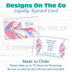 Custom Loyalty Reward Business Card - Independent Consultant - Branding - Marketing - Made to Order - DIY Print - Punch Card - Feathers