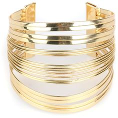 Golden Multilayer Bar Open Cuff Bracelet ($17) ❤ liked on Polyvore featuring jewelry, bracelets, accessories, hinged cuff bracelet, golden jewelry, golden bangles, cuff bracelet and layered jewelry