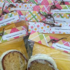 another bake sale idea - slip your baked goods into clear ziptop sandwich bags, then pretty them up with a label, scrapbook paper, a colorful napkin if needed for messy frosting fingers, and a twirl of ribbon or twine to disguise the staple
