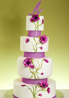 love the mix of painting and fondant/gumpaste flowers  Floral wedding cake