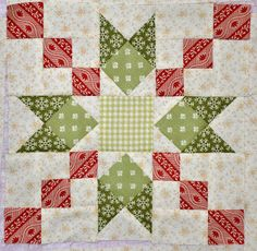 Sew'n Wild Oaks Quilting Blog: Country Charm//what a sweet color combo for a holiday lap quilt!