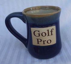Golf Pro Coffee Mug Large Blue Tan Stoneware Tumbleweed Pottery #TumbleweedPottery