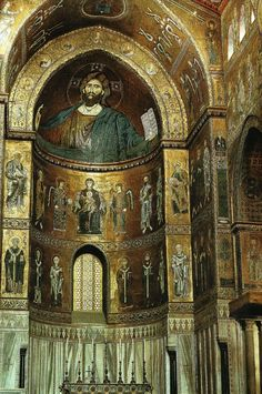 Christus, heerser van het heelal, de H. Maagd met het Kind en heiligen, omstreeks 1190. Mozaïek, Kathedraal van Monreale, Sicilië (Gombrich 140) 8000 m2 met goudkleurig mozaïek, architectuur is ondergeschikt. Licht door vensters zorgt voor schittering. Byzantijnse, Arabische en Westerse tradities ontmoeten elkaar. Kathedraal zal bezoeker in staat van bewondering brengen aldus Koning Willem II. Opdrachtgever tot de bouw. Symbool van zijn macht en glorie
