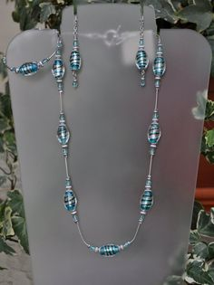 Jewelry - Necklaces - Foil Silver and Aqua Necklace and Earring Set by JewelryArtByGail