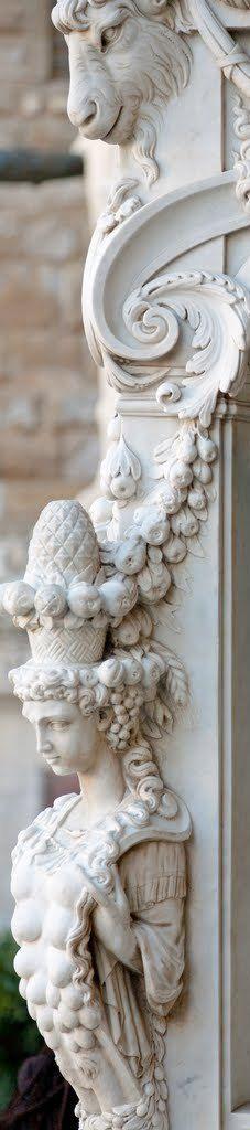 ❤ - Loggia dei Lanzi : Detail, Perseus, The Pedestal. Loggia dei Lanzi, Firenze, Italy.