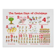 Shop Twelve Days of Christmas Poster created by PawsitiveDesigns. Twelve Days Of Christmas, Christmas Holidays, Dog Design, Print Design, Five Gold Rings, Seven Swans, Pear Trees, Custom Posters, Custom Framing