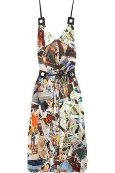 Christopher Kane - Leather-trimmed Printed Silk-satin Midi Dress - Off-white - IT42