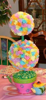 Multi~Color Tissue Flower Topiary