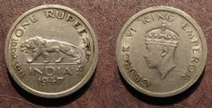 One Rupee coin with tiger and King George VI likeness minted in 1947, the last year of the British Raj in India.