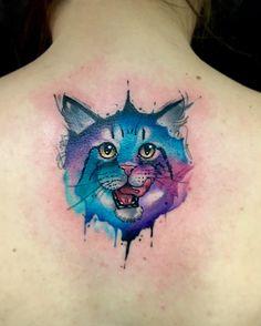 Cat watercolor tattoo by Juan David Castro R