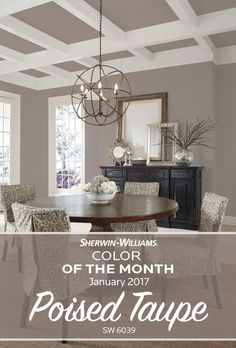 Start the new year with a touch of new paint color. Our Sherwin-Williams Color of the Month for January 2017, Poised Taupe SW 6039, strikes a fine balance between warm and cool tones, working agilely with a broad range of styles and aesthetics.