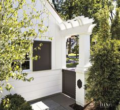 Transitional White Gate with Small Pergoia  Style On Picture Lifestyle