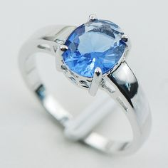 Simulated Tanzanite 925 Sterling Silver  Ring Size 5 6 7 8 9 10 11 12 PR04