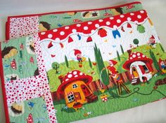 Baby Quilt Gnomes, Hedgehogs and Mushroom