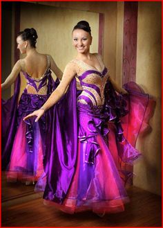 purple and pink modern dress bodice crystal lines design