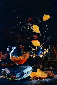 Flying cup of tea with a splash, levitating lemon slices and anise stars. Hot drink still life with magic. Cocktail Photography, Fruit Photography, Dark Photography, Still Life Photography, Creative Photography, Movement Photography, Exposure Photography, Winter Photography, Abstract Photography