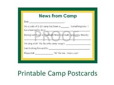 Guided Stationary for Kids, Printable Stationary, Summer Camp Postcards