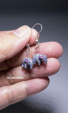 Elephant earrings, animal earrings, handmade, polymer clay by TinyImaginarium on Etsy
