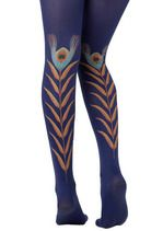 Indigo Peacock Feather Tights from Modcloth Corsets, Colored Tights, Patterned Tights, Purple Tights, Nylons, Stocking Tights, Inspiration Mode, Costume, Modcloth
