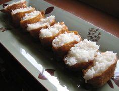 Google Image Result for http://justjennrecipes.com/wp-content/uploads/2009/07/inari-sushi-lined-up-sm.jpg