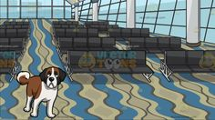 A Curious Young St Bernard Dog With Airport Departure Waiting Area Background:  A dog with brown and white fur droopy gray ears looks ahead in a curious way and A big room with glass windows white with blue illuminated columns dark gray waiting benches and a wavy blue brown and beige carpeted floor that serves as a boarding gate inside the departure section of the airport  #travel #clipart #cartoon #illustration #design #vectortoons