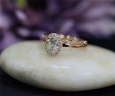 AMAZING 1ct Brilliant Moissanite Engagement Ring Set by NidaRings