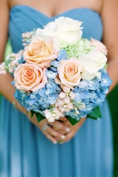 Peach, blue and white bouquet