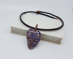 Sea Sediment Jasper Tree of Life Pendant, Yggdrasil Pendant, Norse Tree, Wire Wrapped Jewelry, World Tree, Copper Tree, Gemstone Jewellery by JakdawGems on Etsy