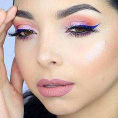 Delicate  Are you digging this blue winged liner ? I felt a little bit colorful last night . Tutorial coming soon  .  Les gusta el delineado con Azul? Ayer me dio por maquillarme bien colorido El tutorial viene en camino.  . EYES: @smashboxcosmetics #covershotpalette • @lancomeofficial Grandiose Eyeliner • Lashes: @shophudabeauty in Style Marylin  @hudabeauty . . SKIN: • Dream Cushion Foundation by @maybelline • @narsissist  Radient Creamy Concealer • Shiseido Translucent Pow