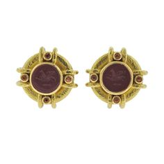 Elizabeth Locke Jasper Intaglio Citrine Gold Earrings