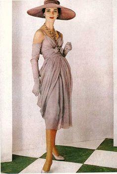 Lilac chiffon dress by Dior, 1956