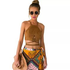 HP Tan Faux Suede Crop Top  Host Pick 3/22 Beautiful, soft, high quality zip lace up crop top with a zip up back.  Elegant, chic, boho.  Perfect for any bohemian look!  Faux Suede.  This listing is for tan.  Comment to order black. time2livelife Tops Crop Tops