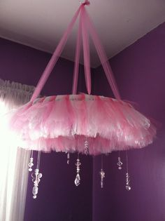 Fun DIY Crafts (Tutu Chandelier / Baby Mobile Pink with White Lace. Girl Nursery, Girls Bedroom, Bedroom Ideas, Tulle Crafts, Tulle Projects, Do It Yourself Baby, Deco Luminaire, Tulle Wreath, Tulle Tutu