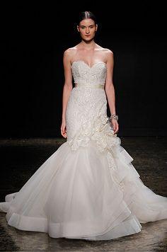 Light blush lace mermaid wedding dress. Lazaro, Spring 2014