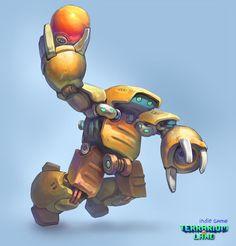 Robot T.I.X. with bomb.   #Terrarium_land, #gamedev, #indiedev, #scifi, #robots, #art,