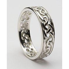 Ladies Sterling Silver Filagree Celtic Wedding Band