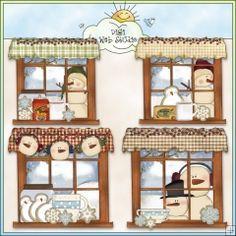 Cozy Winter Windows 1 - NE Cheryl Seslar Clip Art