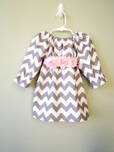 Baby Girl Dress Gray and Pink Chevron and Polka by crocodilecrunch, $30.00