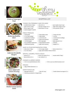 Vegetarian Meal Plan & Shopping List - Including Balancing Buddha Bowls, Mediterranean Quinoa Salad, and 3 more meatless dinners