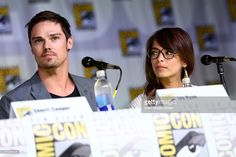 Actor Jay Ryan (L) and actress Kristin Kreuk attend the 'Beauty And The Beast' panel during Comic-Con International 2013 at San Diego Convention Center on July 18, 2013 in San Diego, California.