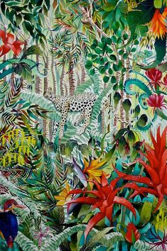 Sleeping Leopard - Kate Morgan - Artist & Illustrator Original in watercolour and inks. A playful depiction of a jungle scene. Jungle Scene, Jungle Art, Art And Illustration, Watercolour Illustration, Painting Inspiration, Art Inspo, Motifs Textiles, Tropical Art, Watercolor And Ink