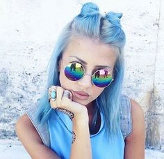 #hair #hairstyle #coloredhair #cute #girl #pastelhair #pastel #bluehair #grunge #grungestyle #amazing #grungegirl #bun #hairbun #makeup #eyebrowsonfleek #hairbuns #makeup #glasses
