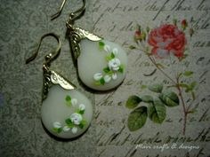 translucent and white polymer clay earrings