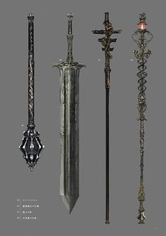Dark Souls 3 Concept Art - Weapon Concept Art Fantasy Sword, Fantasy Armor, Fantasy Weapons, Medieval Fantasy, Dark Fantasy, Dark Souls 3, Sword Design, Anime Weapons, Dungeons And Dragons Homebrew