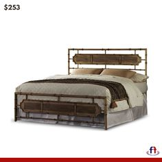 d710f5d53d56 Beige Finish Naturalistic Metal Full Bed B41534 Fashion Bed Group